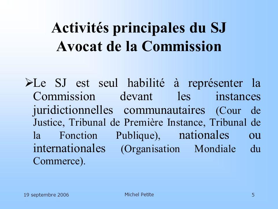 Activités principales du SJ Avocat de la Commission