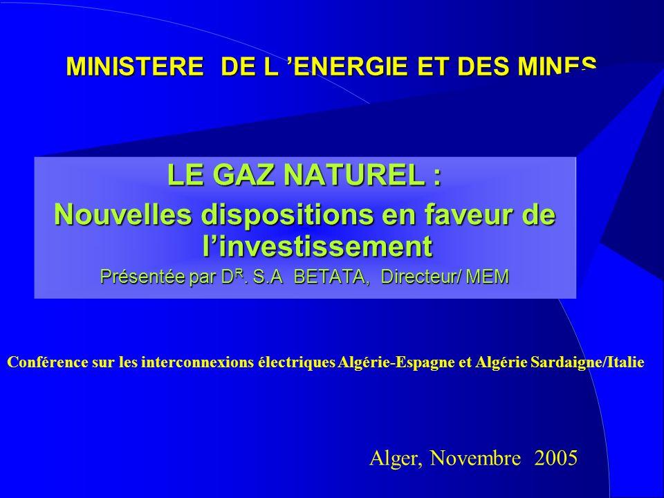 MINISTERE DE L 'ENERGIE ET DES MINES