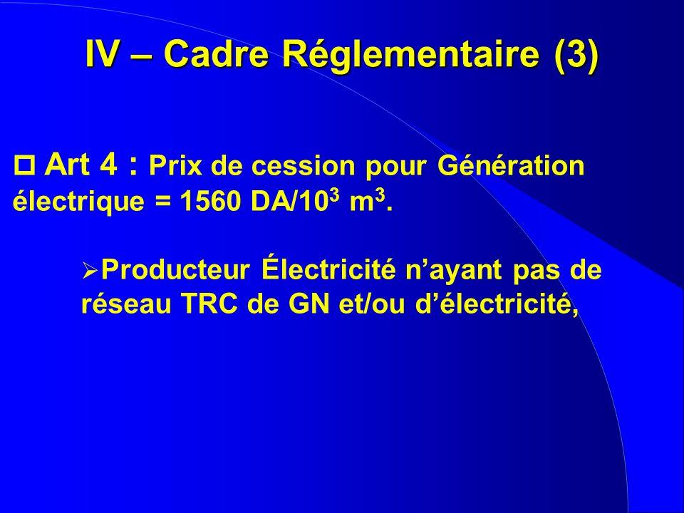 IV – Cadre Réglementaire (3)
