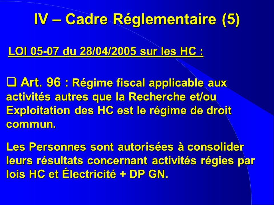 IV – Cadre Réglementaire (5)