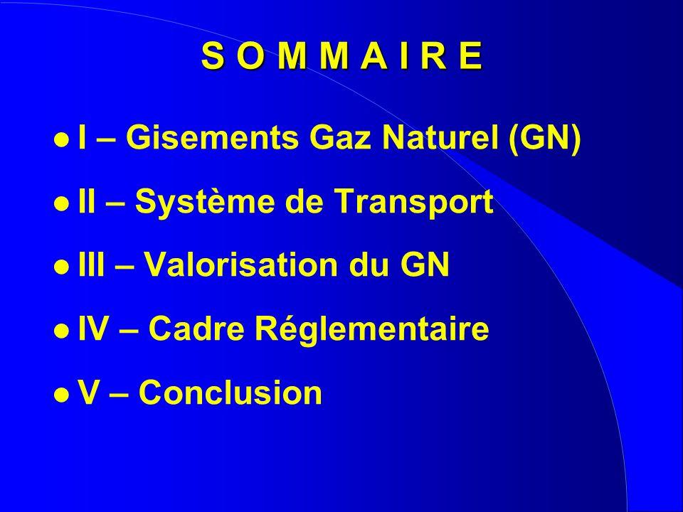 S O M M A I R E I – Gisements Gaz Naturel (GN)