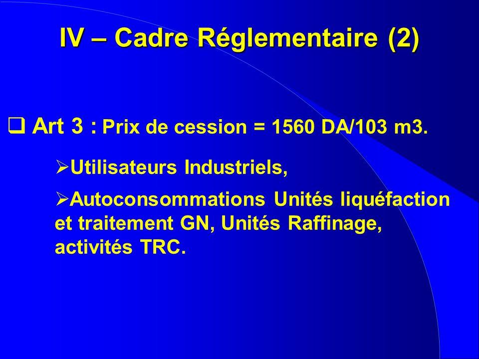 IV – Cadre Réglementaire (2)