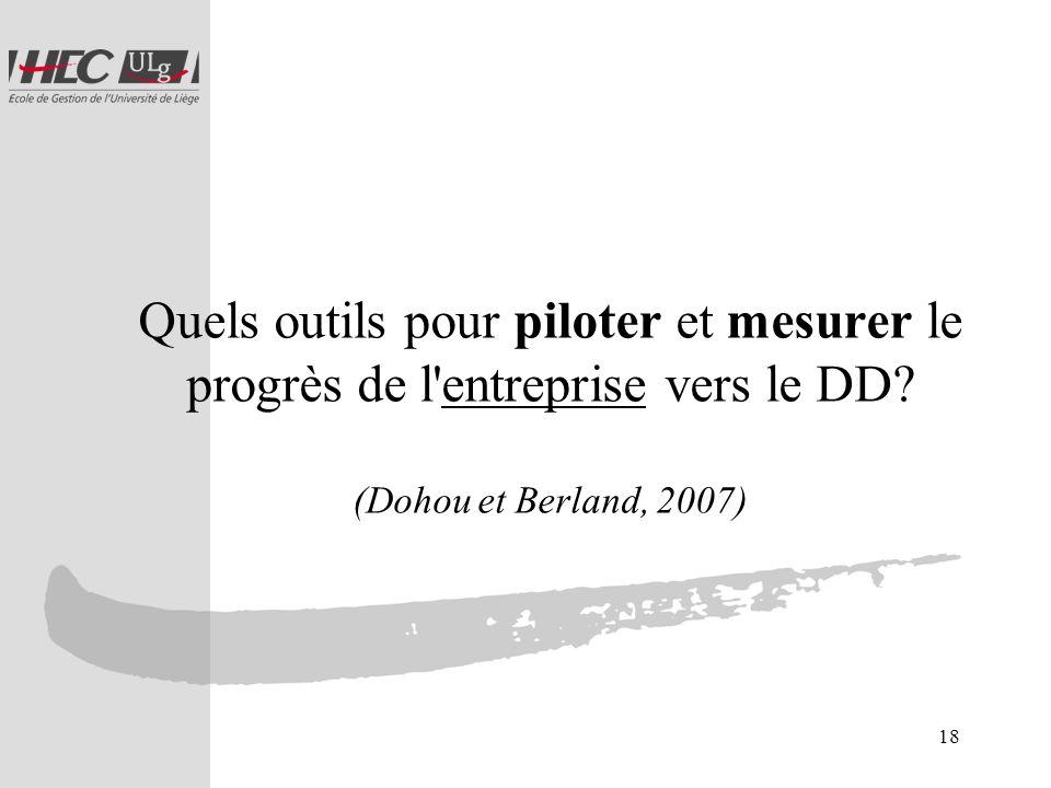 Quels outils pour piloter et mesurer le progrès de l entreprise vers le DD (Dohou et Berland, 2007)