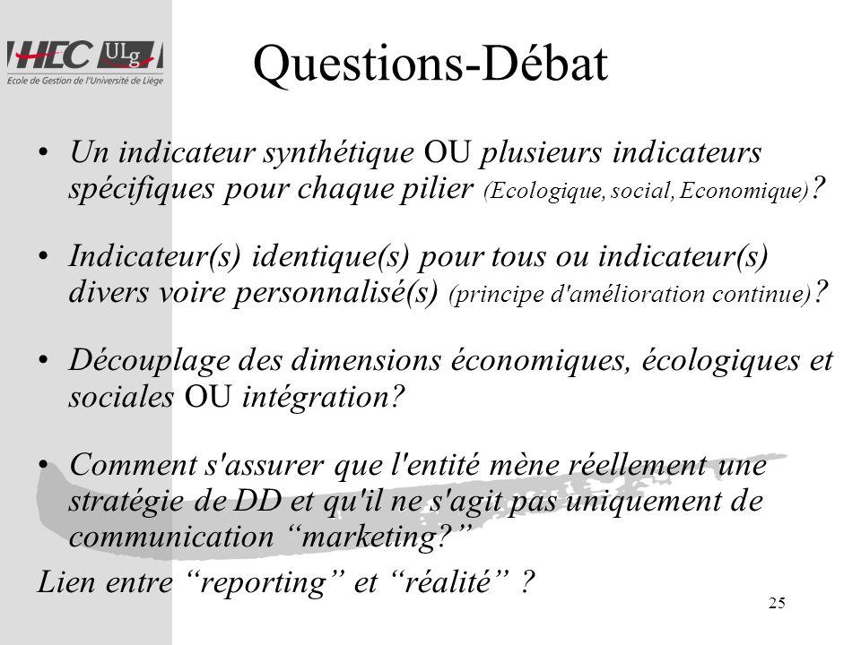 Questions-Débat Un indicateur synthétique OU plusieurs indicateurs spécifiques pour chaque pilier (Ecologique, social, Economique)