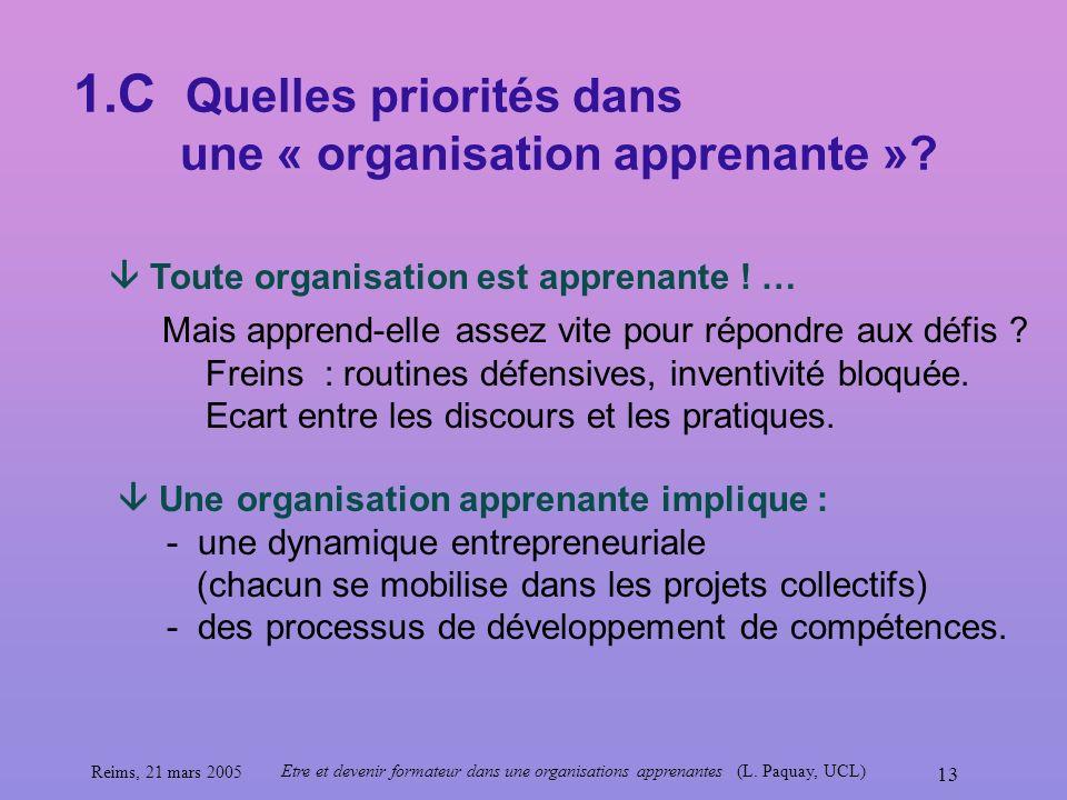 1.C Quelles priorités dans une « organisation apprenante »