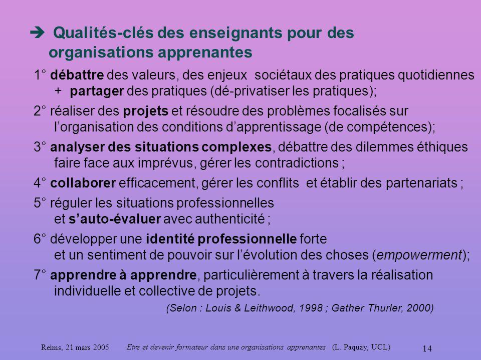 Qualités-clés des enseignants pour des organisations apprenantes