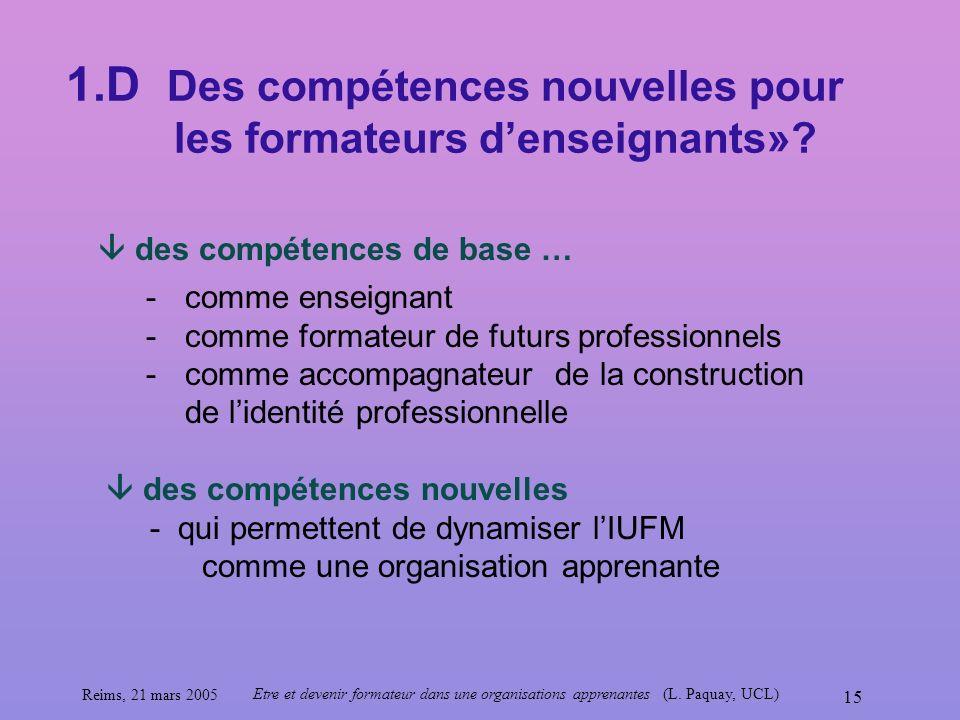 1.D Des compétences nouvelles pour les formateurs d'enseignants»