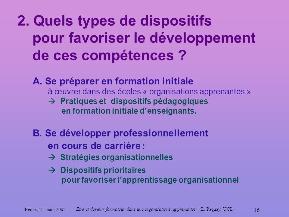 2. Quels types de dispositifs pour favoriser le développement de ces compétences