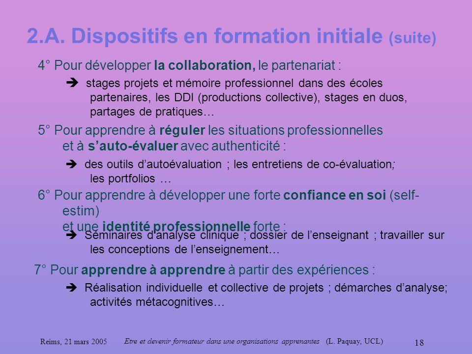 2.A. Dispositifs en formation initiale (suite)