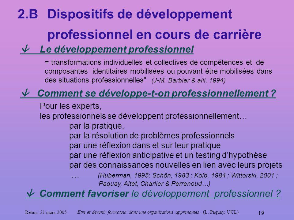 2.B Dispositifs de développement professionnel en cours de carrière
