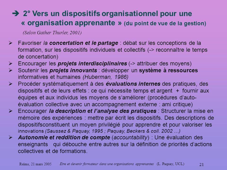 2° Vers un dispositifs organisationnel pour une « organisation apprenante » (du point de vue de la gestion)