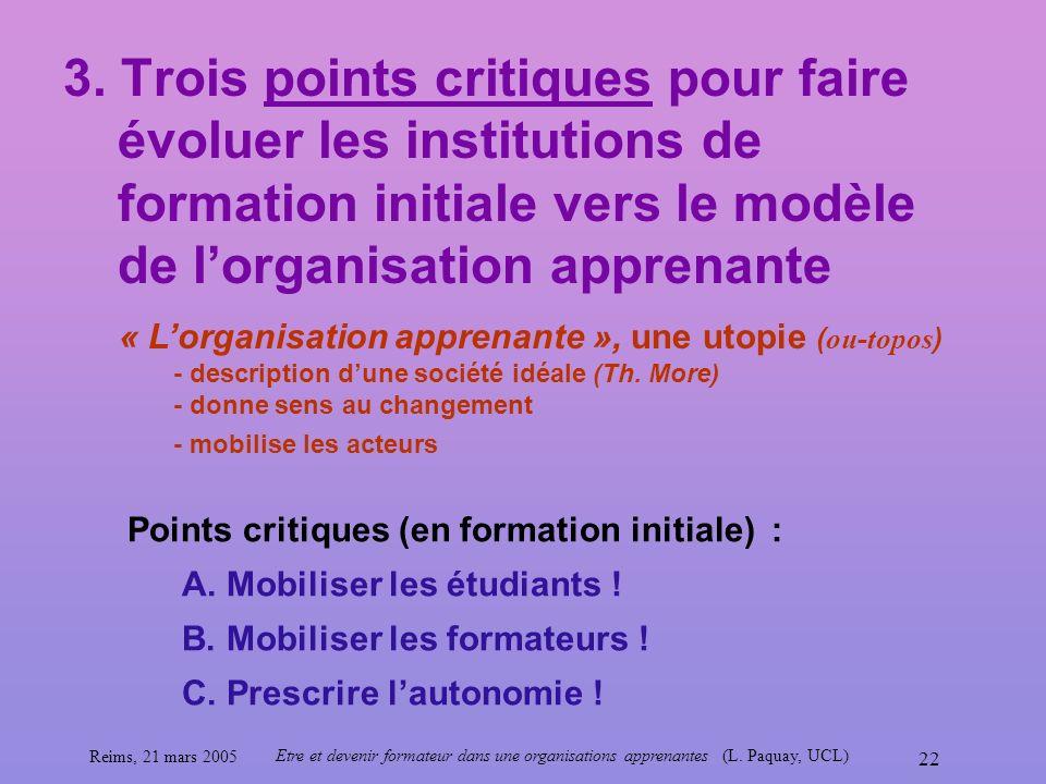 3. Trois points critiques pour faire évoluer les institutions de formation initiale vers le modèle de l'organisation apprenante
