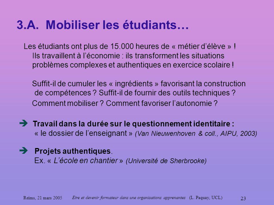 3.A. Mobiliser les étudiants…