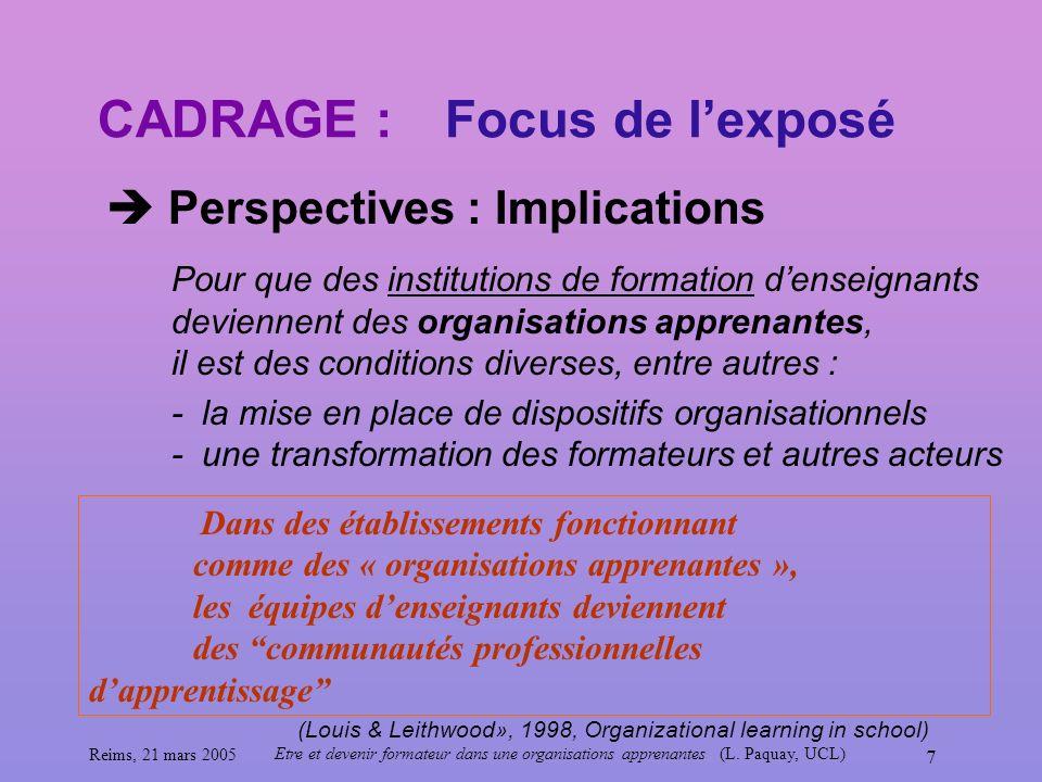 CADRAGE : Focus de l'exposé  Perspectives : Implications