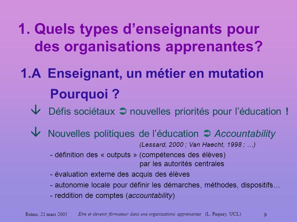 1. Quels types d'enseignants pour des organisations apprenantes