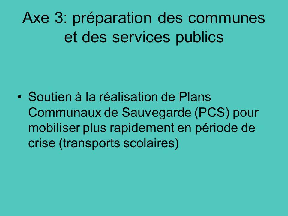 Axe 3: préparation des communes et des services publics