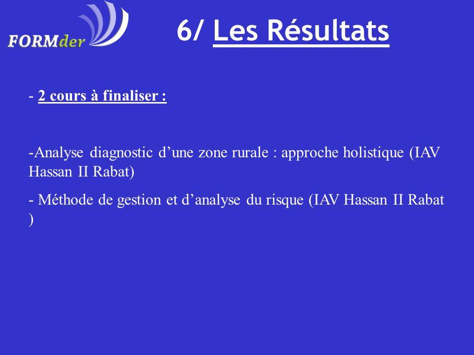 6/ Les Résultats 2 cours à finaliser :