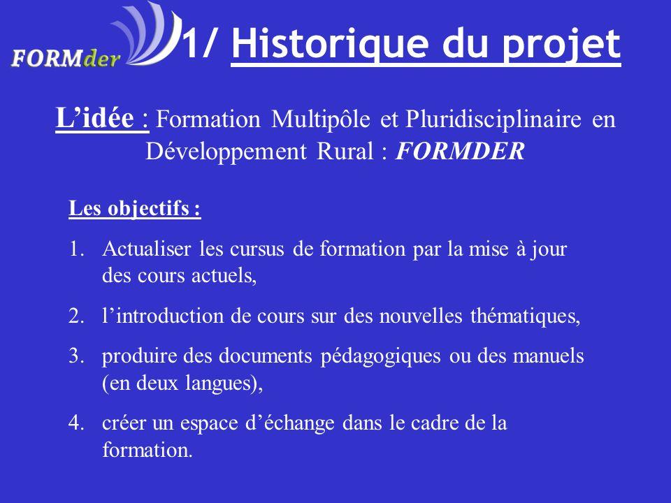 1/ Historique du projet L'idée : Formation Multipôle et Pluridisciplinaire en Développement Rural : FORMDER.
