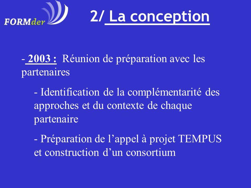 2/ La conception 2003 : Réunion de préparation avec les partenaires