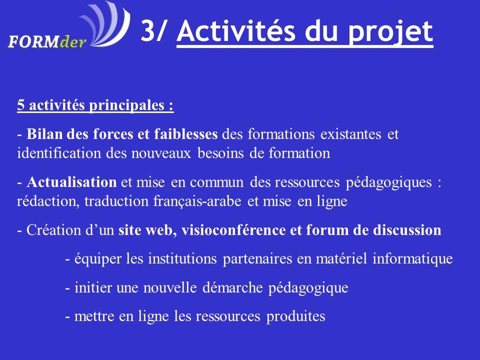 3/ Activités du projet 5 activités principales :