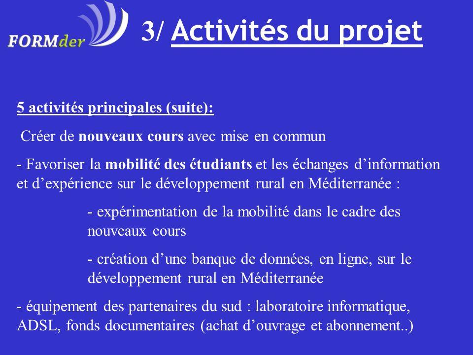 3/ Activités du projet 5 activités principales (suite):