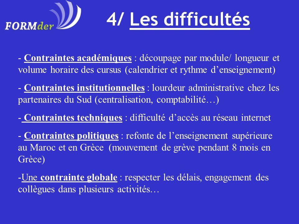 4/ Les difficultés Contraintes académiques : découpage par module/ longueur et volume horaire des cursus (calendrier et rythme d'enseignement)