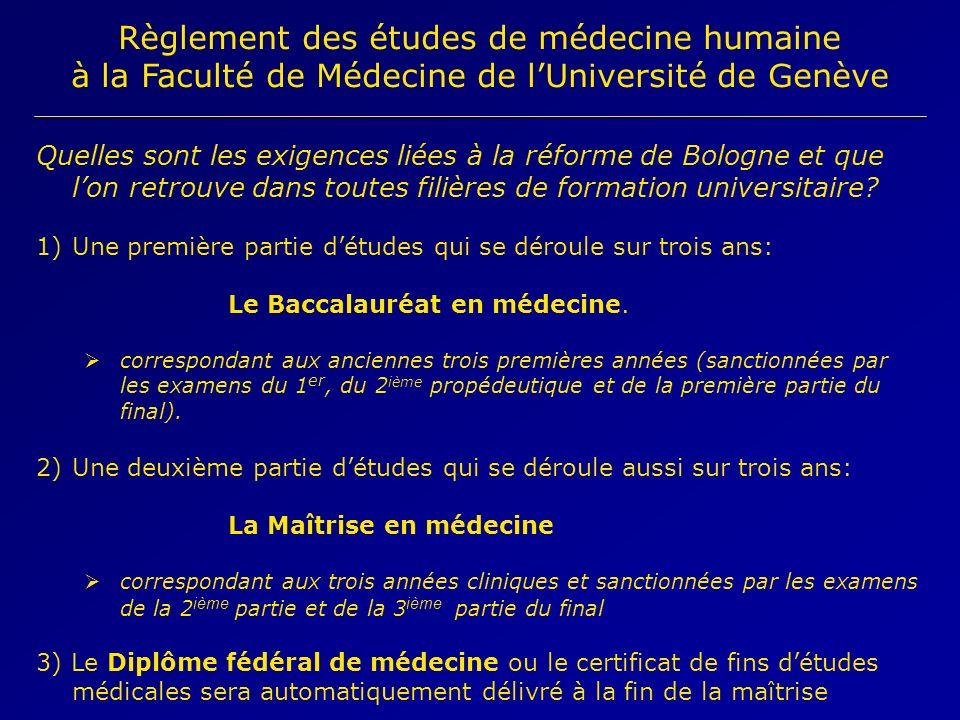 Règlement des études de médecine humaine