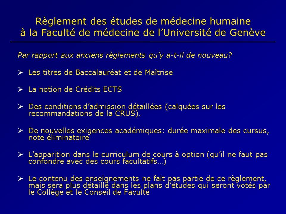 Règlement des études de médecine humaine à la Faculté de médecine de l'Université de Genève