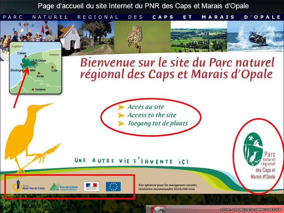 Page d'accueil du site Internet du PNR des Caps et Marais d'Opale