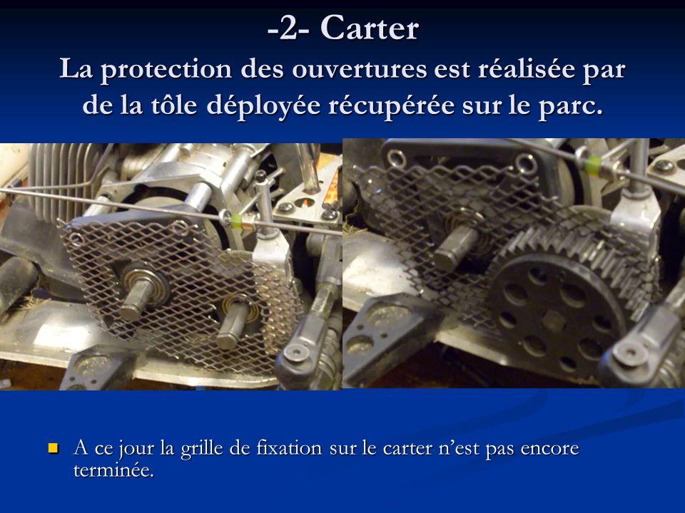 -2- Carter La protection des ouvertures est réalisée par de la tôle déployée récupérée sur le parc.