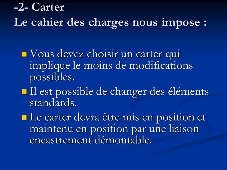-2- Carter Le cahier des charges nous impose :