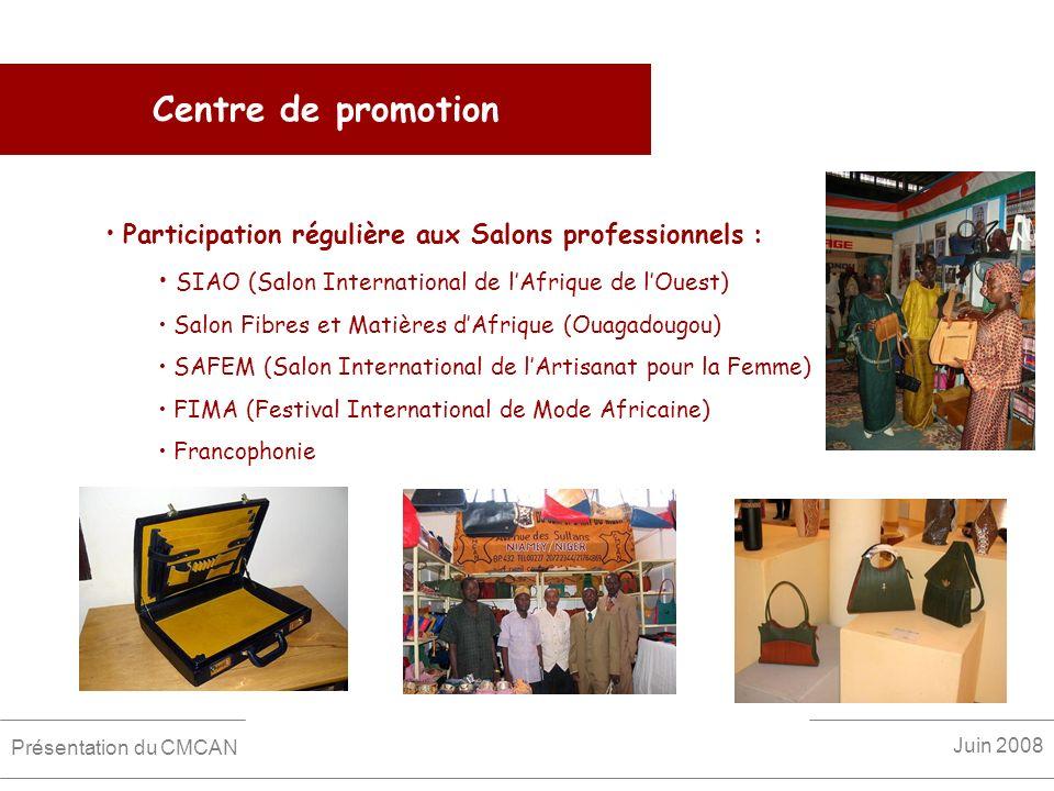 Centre de promotion Participation régulière aux Salons professionnels : SIAO (Salon International de l'Afrique de l'Ouest)