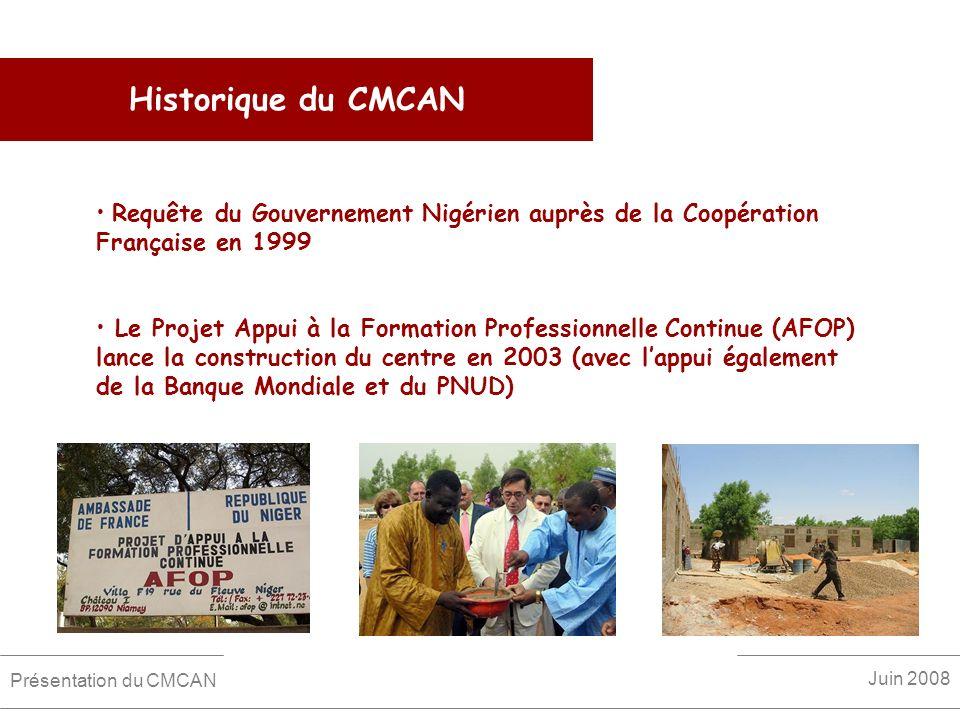 Historique du CMCAN Requête du Gouvernement Nigérien auprès de la Coopération Française en 1999.