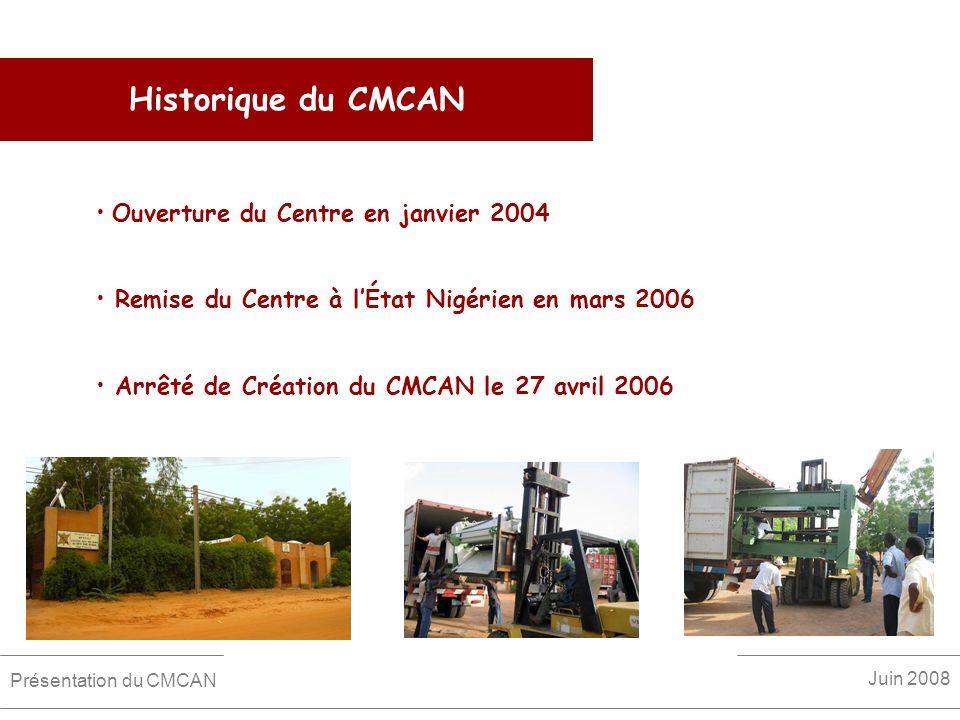 Historique du CMCAN Ouverture du Centre en janvier 2004