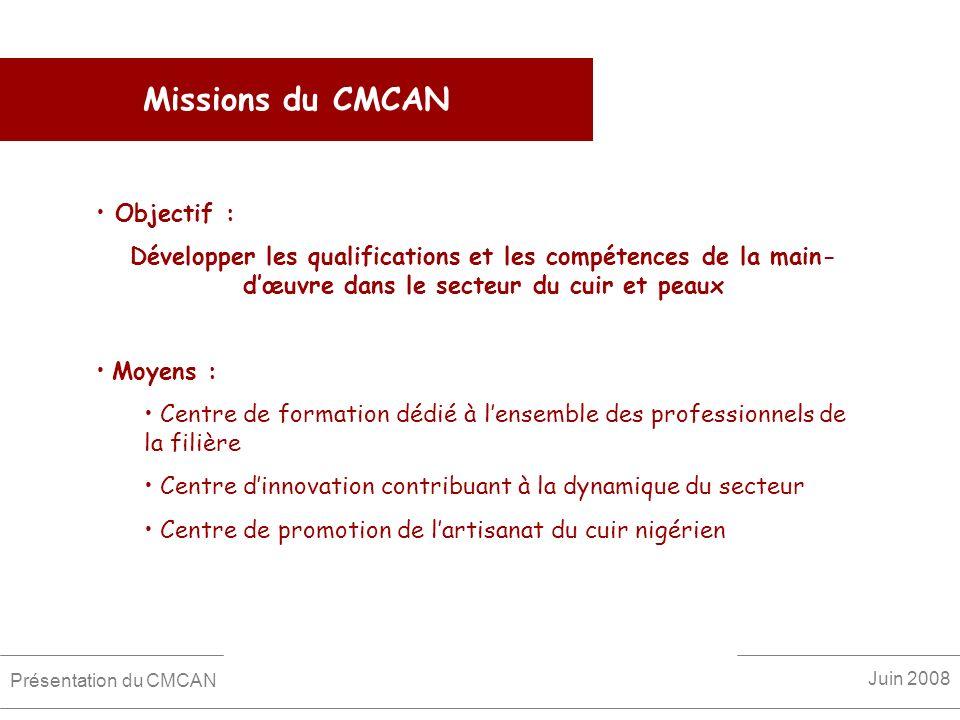 Missions du CMCAN Objectif :