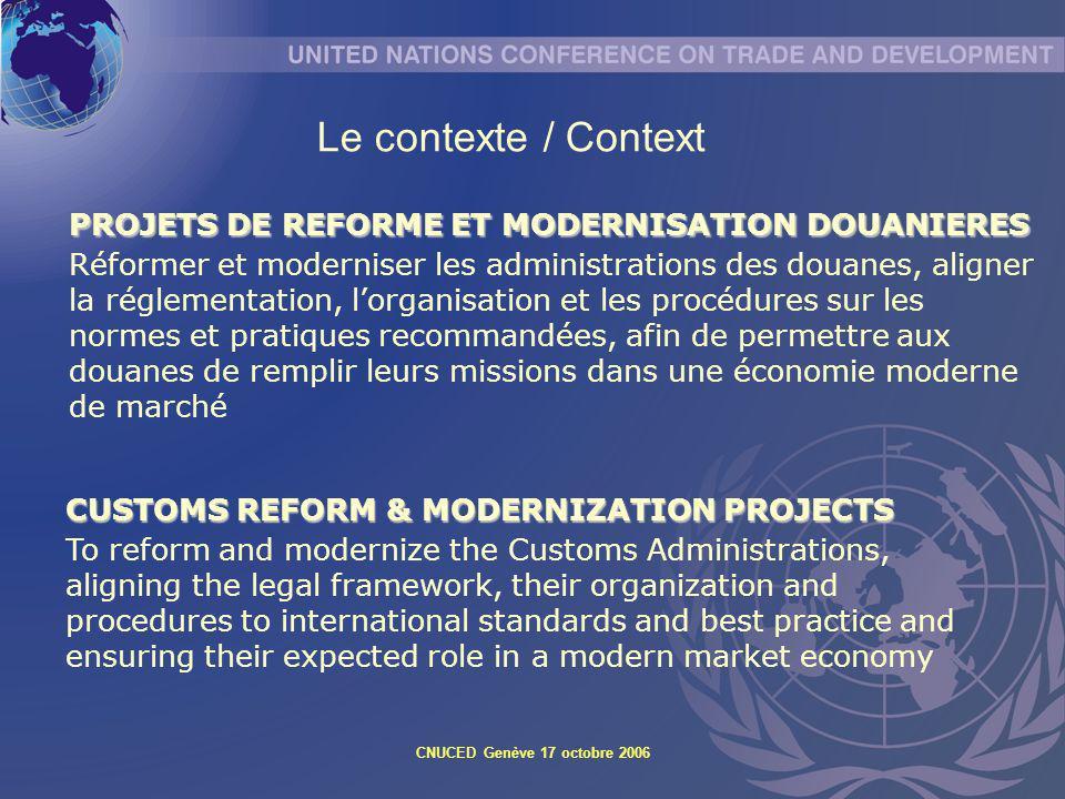 Le contexte / Context PROJETS DE REFORME ET MODERNISATION DOUANIERES