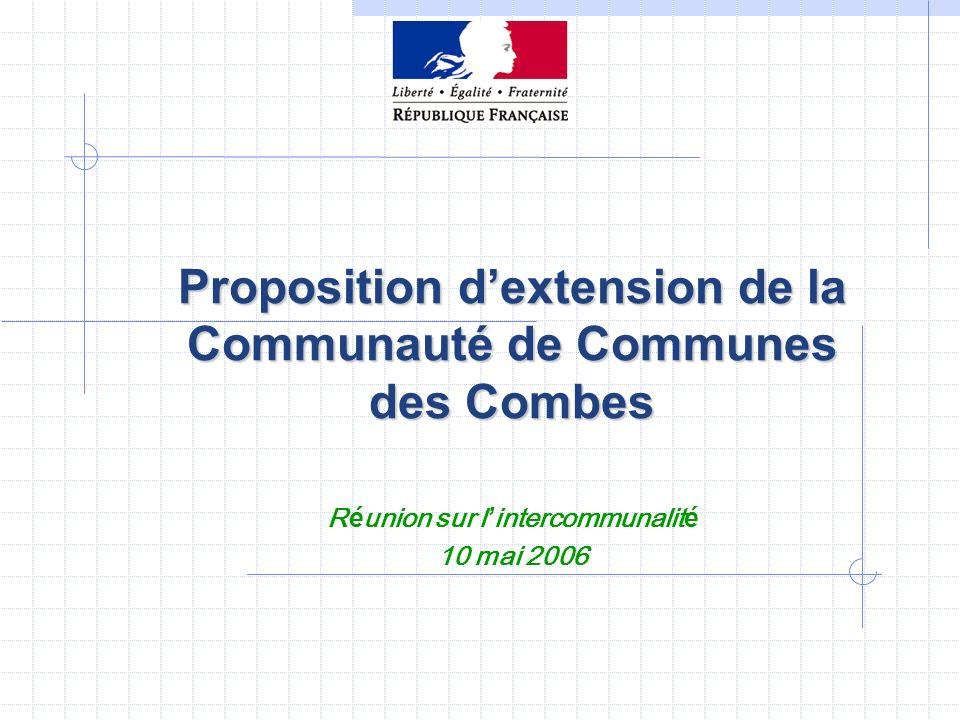 Proposition d'extension de la Communauté de Communes des Combes