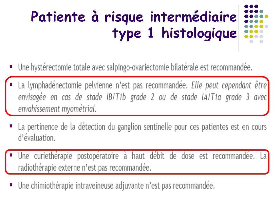 Patiente à risque intermédiaire type 1 histologique