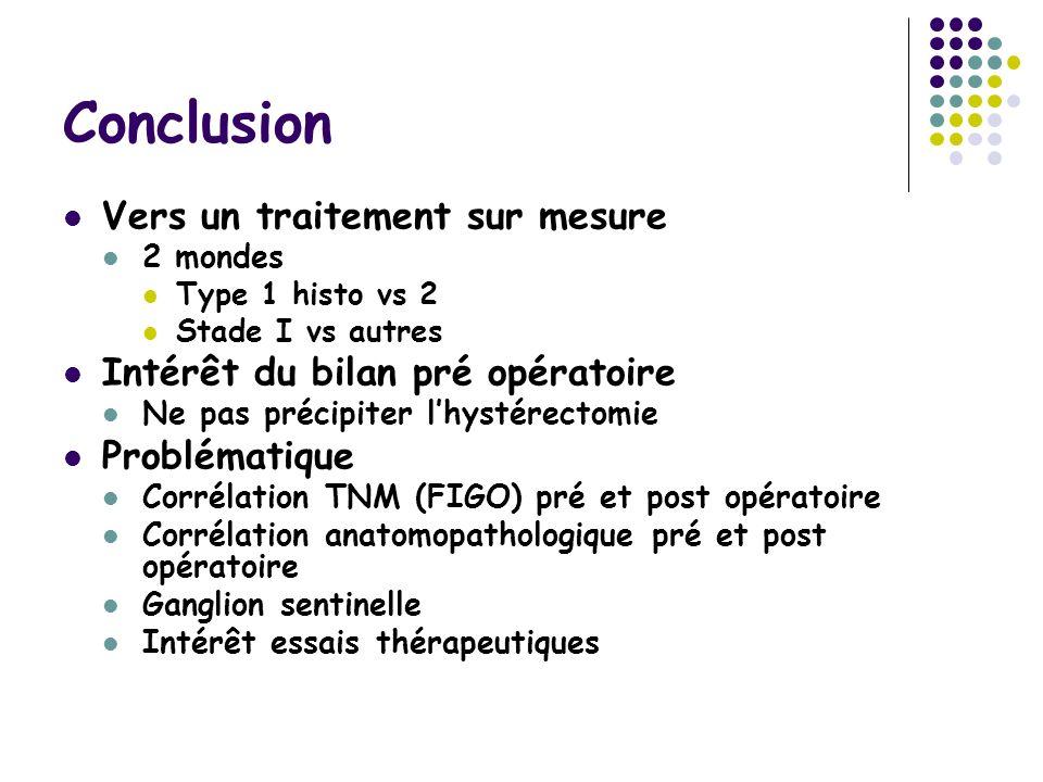 Conclusion Vers un traitement sur mesure