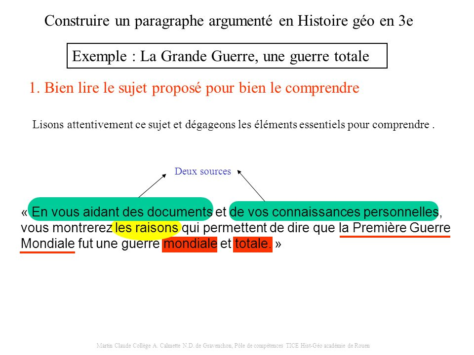 Construire un paragraphe argumenté en Histoire géo en 3e