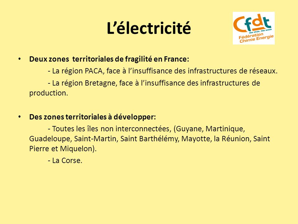 L'électricité Deux zones territoriales de fragilité en France: