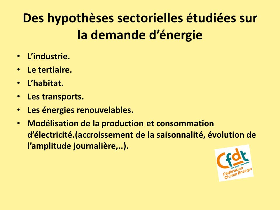 Des hypothèses sectorielles étudiées sur la demande d'énergie