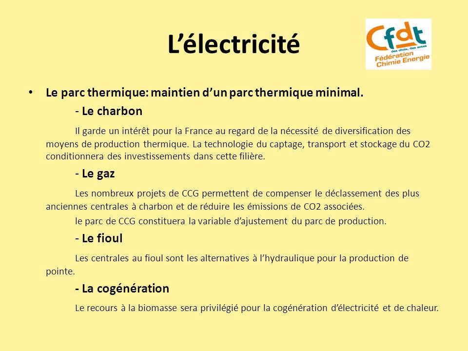 L'électricité Le parc thermique: maintien d'un parc thermique minimal.