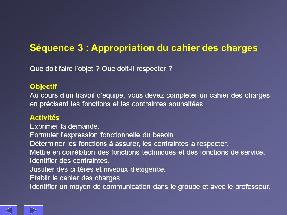 Séquence 3 : Appropriation du cahier des charges