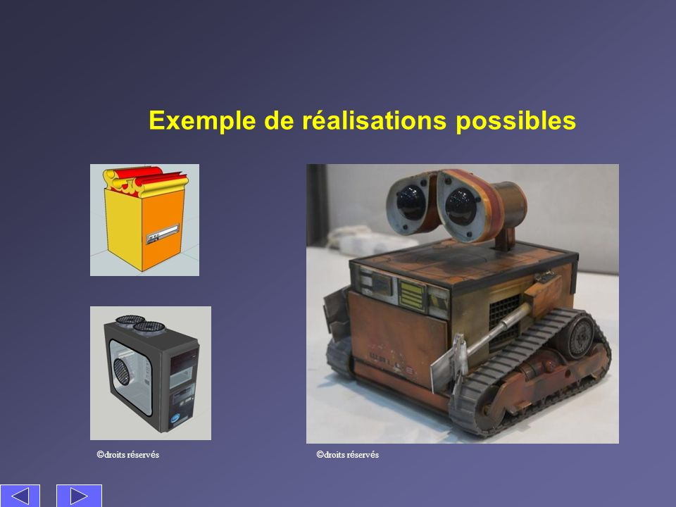 Exemple de réalisations possibles