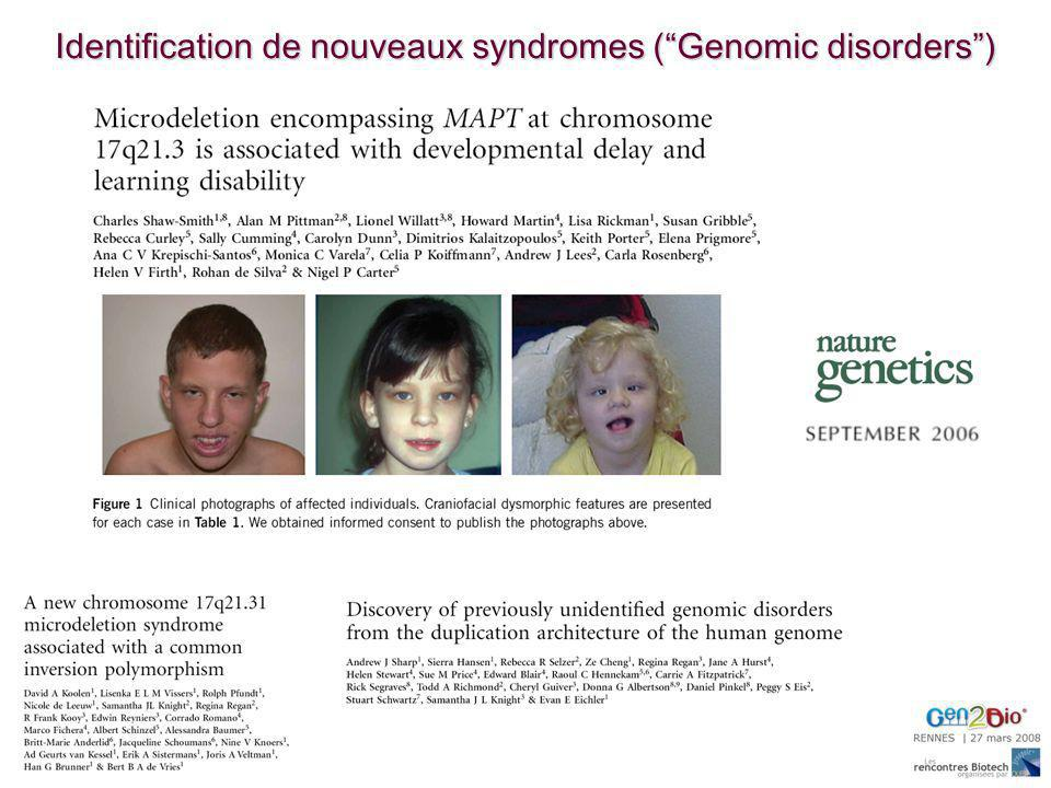 Identification de nouveaux syndromes ( Genomic disorders )