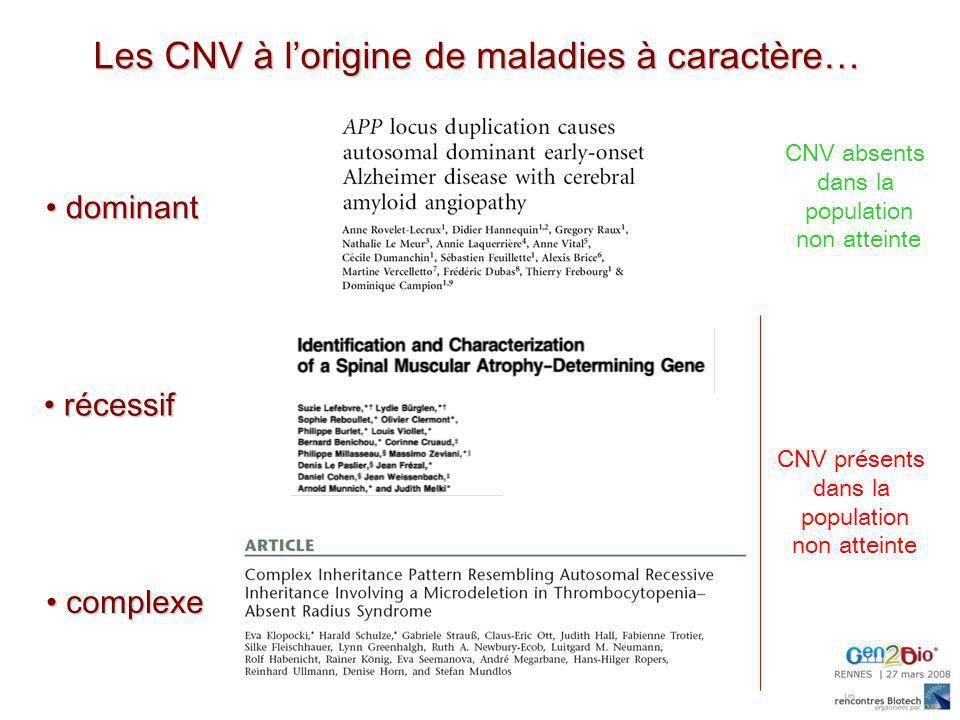 Les CNV à l'origine de maladies à caractère…