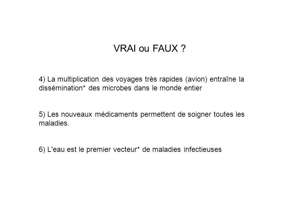 VRAI ou FAUX 4) La multiplication des voyages très rapides (avion) entraîne la dissémination* des microbes dans le monde entier.