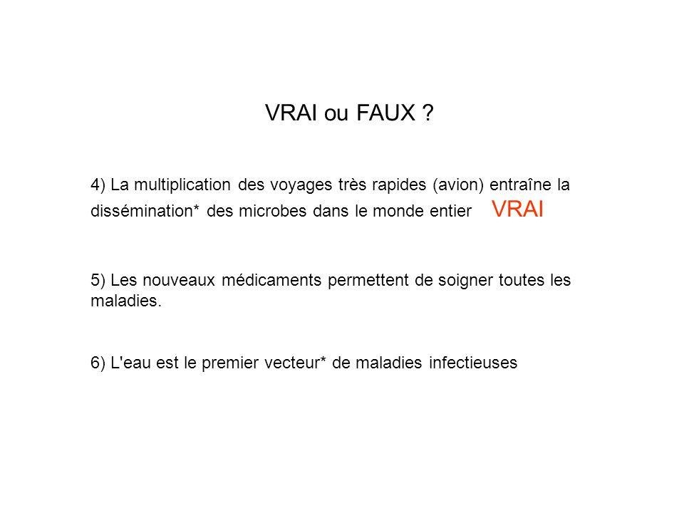 VRAI ou FAUX 4) La multiplication des voyages très rapides (avion) entraîne la dissémination* des microbes dans le monde entier VRAI.