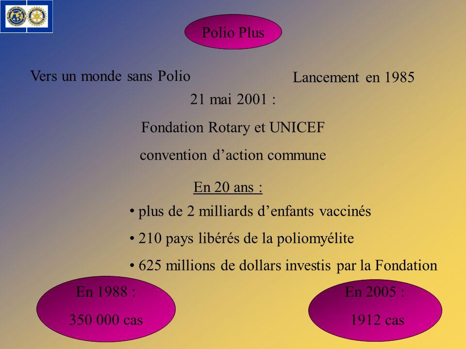Vers un monde sans Polio Lancement en 1985 21 mai 2001 :